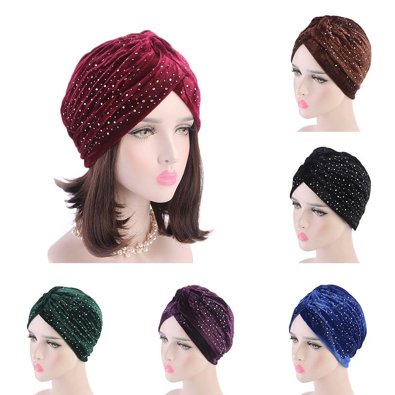 2019 Women Rhinestone Velvet/Knitted Turban Hat Muslim Hijab Scarf Twist Headband Headwrap Winter Ladies Muslim Hijab Turbante