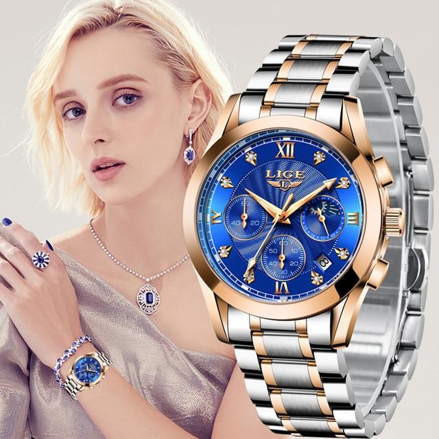 2021 New LIGE Classic Women Quartz Watch Waterproof Stainless Steel Watchstrap Fashion Women Watch Gift Date Clock Dropshipping 2