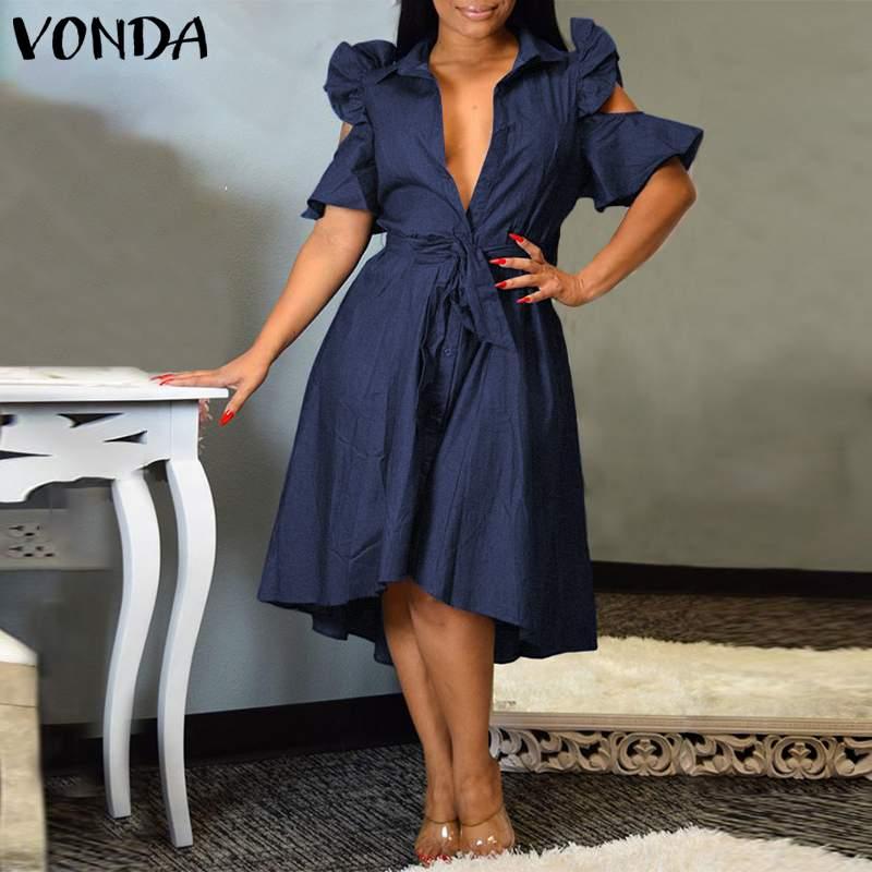 Женское богемное платье VONDA, богемное вечернее платье с открытыми плечами и глубоким v образным вырезом, Летний Пляжный сарафан 2020, винтажное Повседневное платье размера плюс Платья      АлиЭкспресс