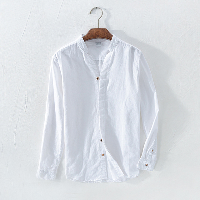 Cotton Linen Casual Shirts Men Basic Classic White Hawaiian Shirt 2020 Spring Male Long Sleeve Stand Collar Breathable Thin Tops