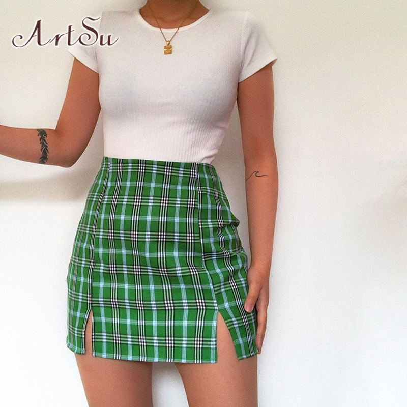 ArtSu Green Vintage Plaid Mini Skirts Women 2020 Summer Fashion Office Lady Club Tarty Casual Short Pencil Skirt Mujer ASSK20270