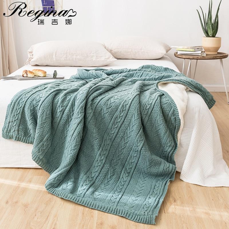 REGINA Brand Winter Stripe Fleece Blanket Soft Warm Sherpa Nordic Style Home Decor Bedspread Plush Throw Blankets For Bed Sofa
