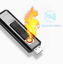 FOCUS Protable professional design silent light up cigarette smart power recyclable isqueiro usb  lighter gadgets for men