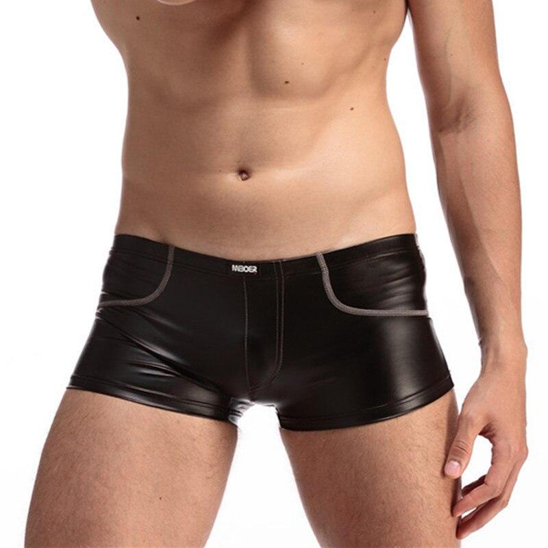 Pánské kožené boxerky sexy spodní prádlo boxerky kraťasy gay spodní prádlo penis pouzdro Sleep Bottoms pánské kraťasy spodní prádlo ropa vnitřní hombre