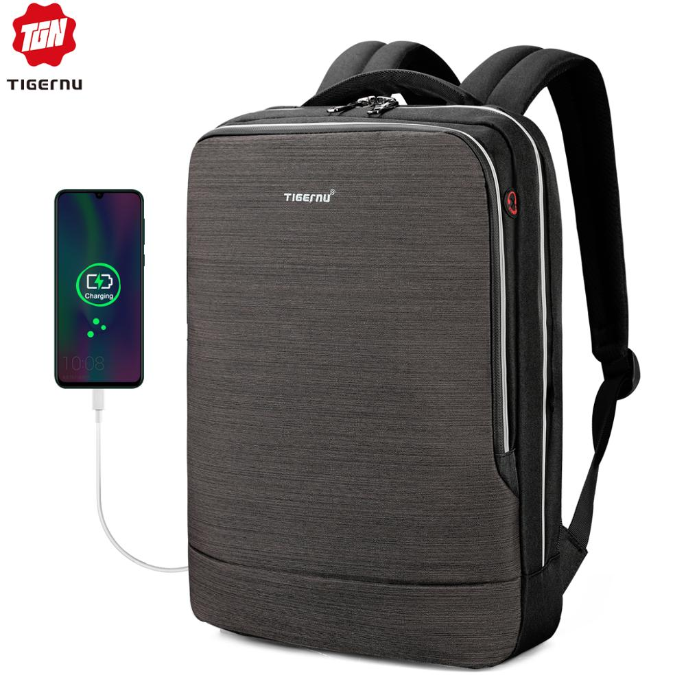 Tigernu 2019 New Business Backpack 15.6 Inch Laptop Men Backpack Waterproof With USB Charging Headphone Male Bag Bagpack Mochila
