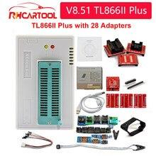 Programador de alta velocidad OBD2 100%, dispositivo Universal Minipro V8.51 TL866II Plus, 28 adaptadores y Clip de prueba TL866 PIC Bios