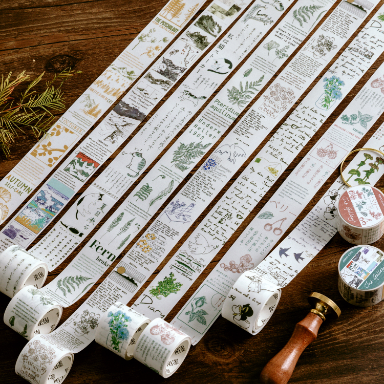 Inspiration Gallery Series Journal Washi Tape Decorative Retro Plant Cat Adhesive Tape DIY Scrapbooking Sticker Label Stationery