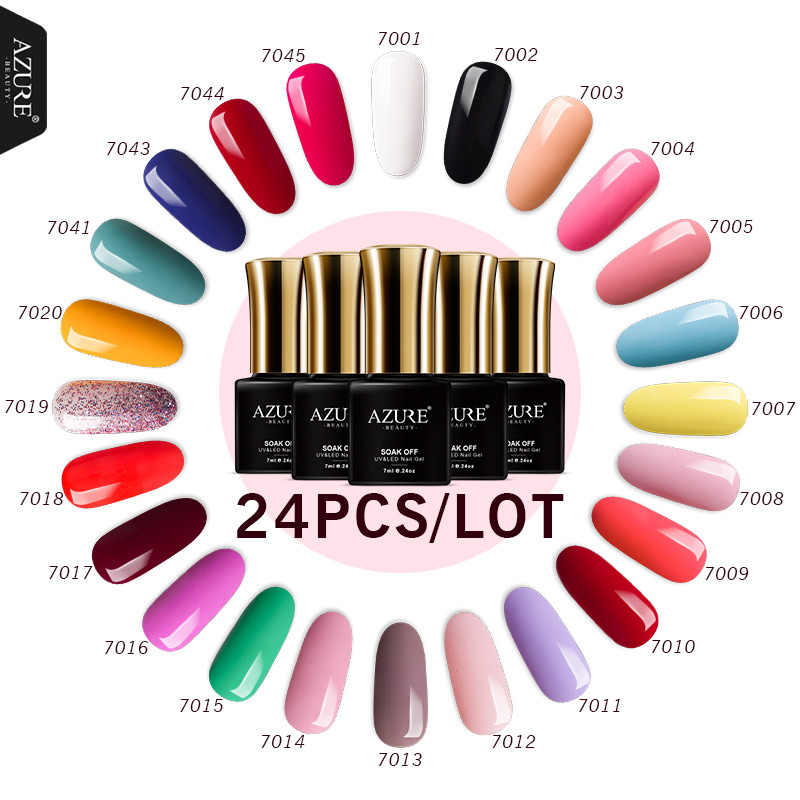 Azure Beauty 24 Buah/Banyak Gel Tahan Lama LED Uv Gel Varnish Rendam Off Semi Permanen Perlu Basis Gel Top permen Warna Seri