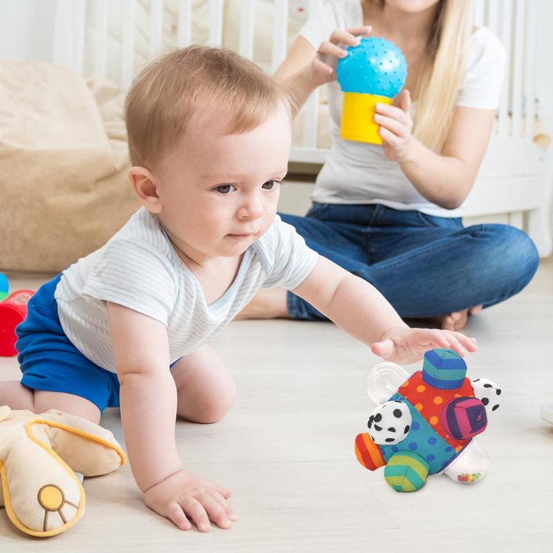 Baby Hand Grab Rattle Ball Excellent Durable Polyester PP Tactile Sensory Stereo Rattle Ball Montessori Toy Interesting