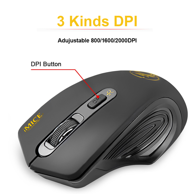 USB Wireless Mouse 2000DPI Adjustable USB 2 0 Receiver Optical Computer Mouse 2 4GHz Ergonomic