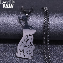 2020 Rabbit Stainless Steel Statement Necklace Women Black Color Long Necklace Jewelry collar acero inoxidable mujer N4217S03 summer mermaid stainless steel long necklace men women silver color necklace jewelry collar acero inoxidable mujer nzz5s03