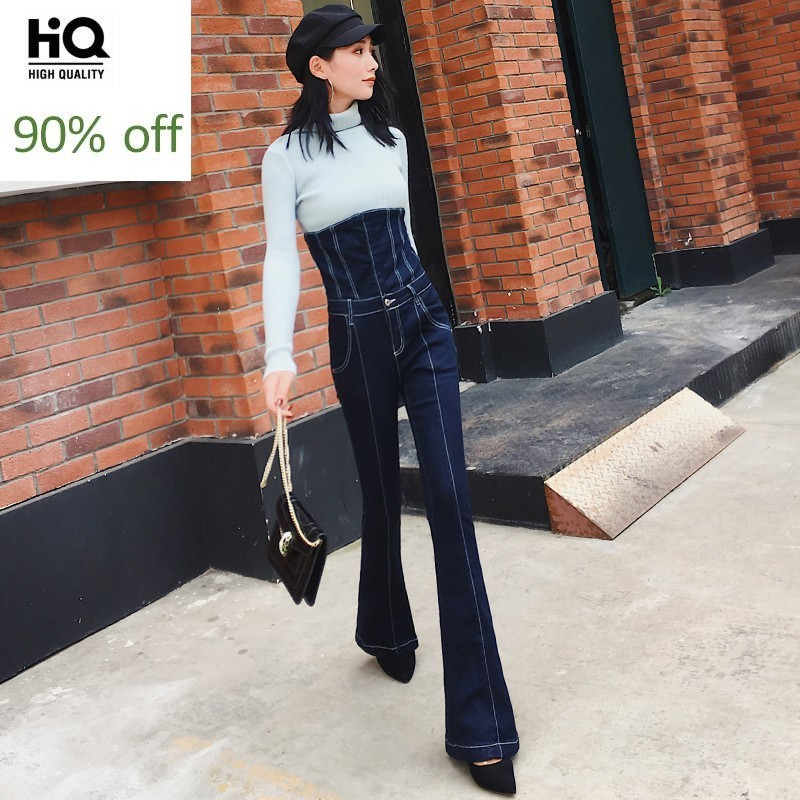 Sexy Women Lace Up High Waist Slim Fit Jeans Office Ladies Denim Bell-bottomed Flare Pants Long Trousers Casual Vintage Jeans