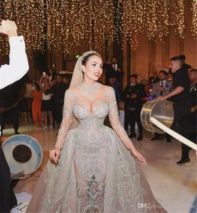 Image 2 - Luxury Crystal Beaded Mermaid Wedding Dresses With Detachable Train Sexy High Neck Long Sleeves Arabic Mulslim Bridal Gown