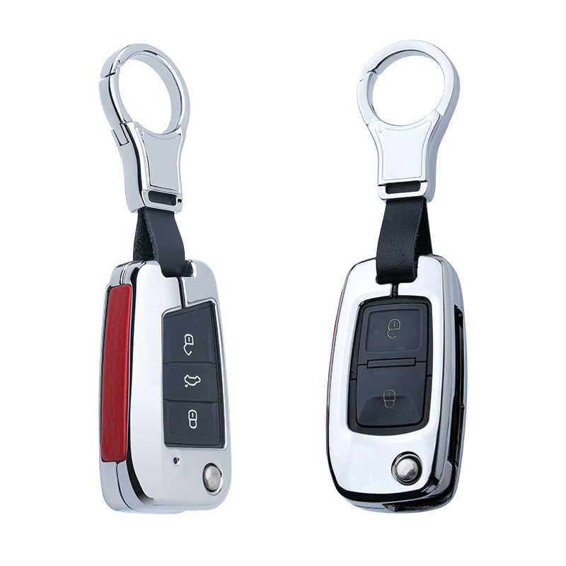 Çinko alaşımlı deri araba anahtarı durum için Volkswagen VW Golf Bora Jetta Polo GOLF Passat Skoda Superb Octavia A5Fabia koltuk ibiza Leon