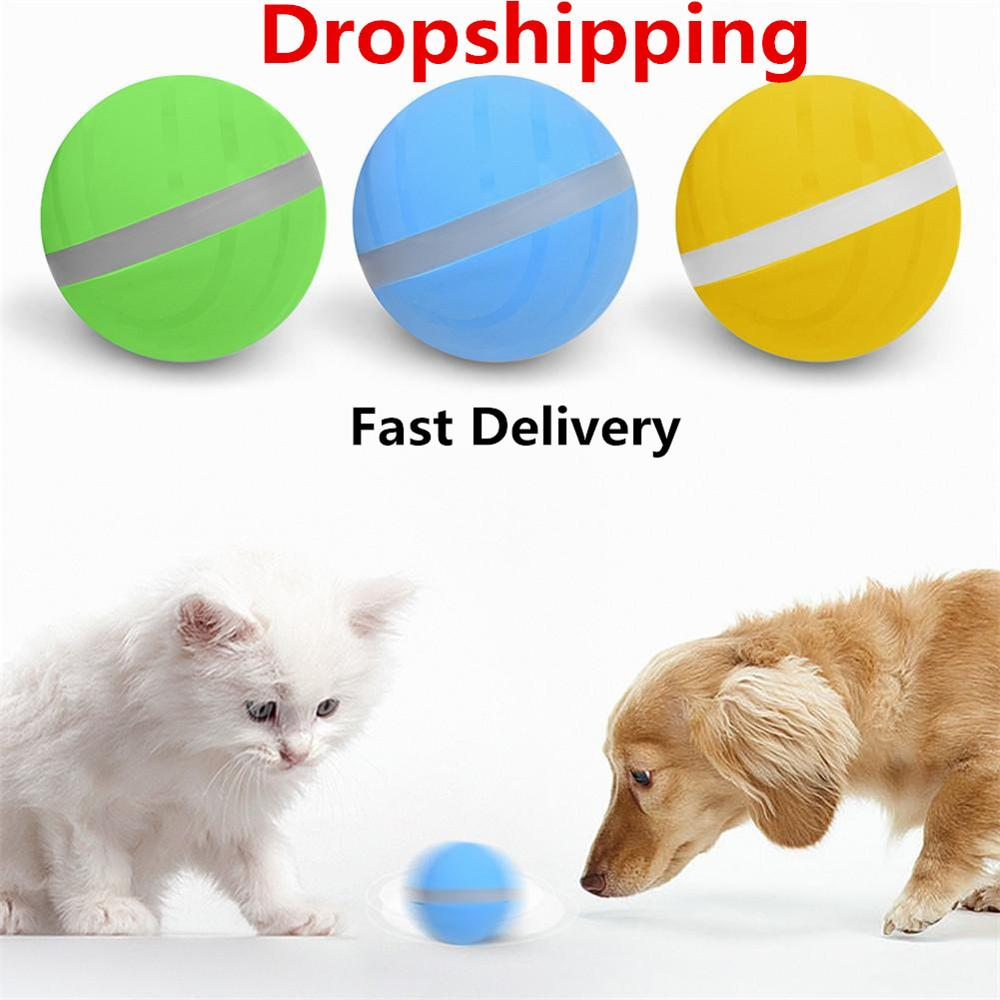 Waterproof Baby Pet Toy Migic Roller Ball Jumping USB Electric LED Rolling Flash Fun For Cat Dog kitten Kids