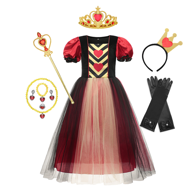 Alice Princess Party Dress Kids Girls Halloween Poker Red Queen Of Hearts Cosplay Birthday Gift Christmas