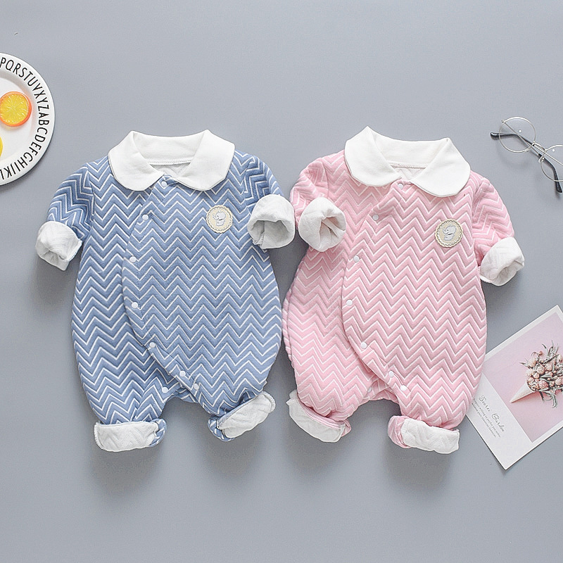 Men And Women Baby Padded Onesie Nursing One-piece Crawling Clothes Infant Spring And Autumn Clothes Newborns Warm Long Romper