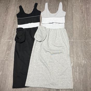 2021 letnie damskie zestawy 2 sztuk Super krótkie topy + spódnice 2 kolory Sexy dresy sportowe Casul Young Hign jakości zestawy tanie i dobre opinie ANGVILME CN (pochodzenie) Lato Stałe NONE Słodkie Kolano długość z włókien syntetycznych 31 (włącznie)-50 (włącznie)