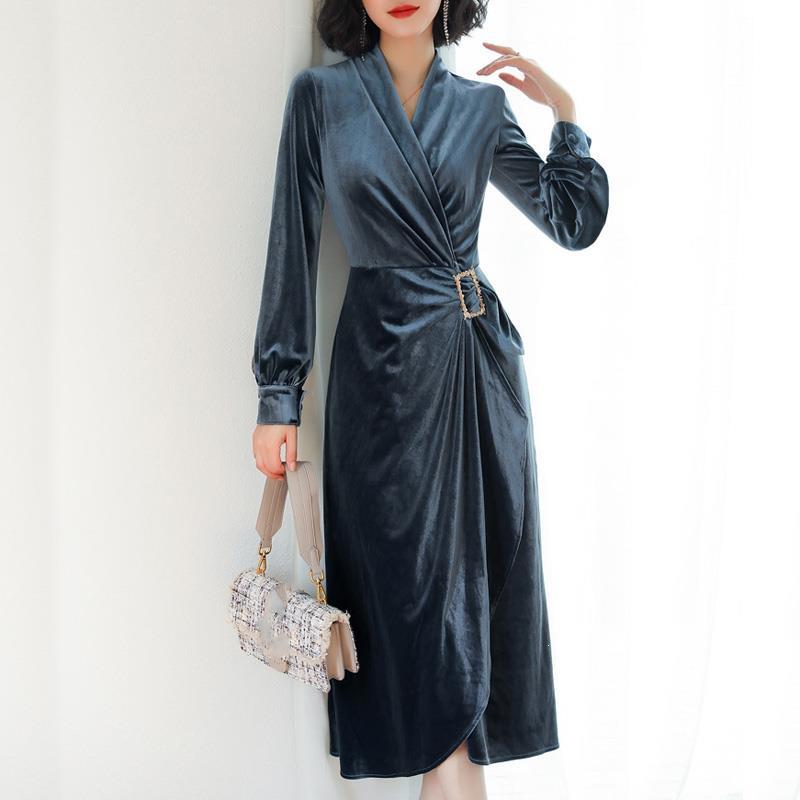 Printemps Vintage une pièce robe en velours femmes Sexy col en v robes fendues à manches longues diamant ceinturé robe moulante