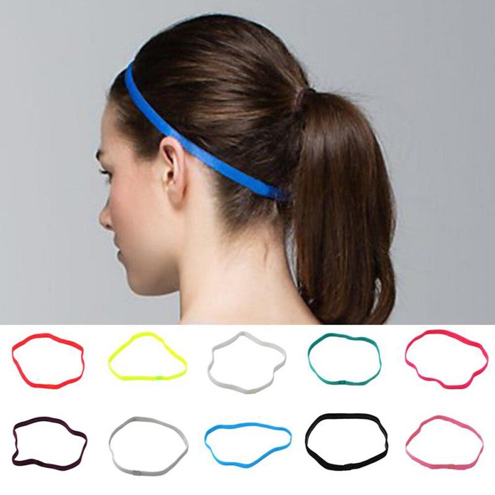 Women Sweatbands Football Yoga Pure Hair Bands Anti-slip Elastic Rubber Thin Sports Headband Men Hair Accessories Headwrap