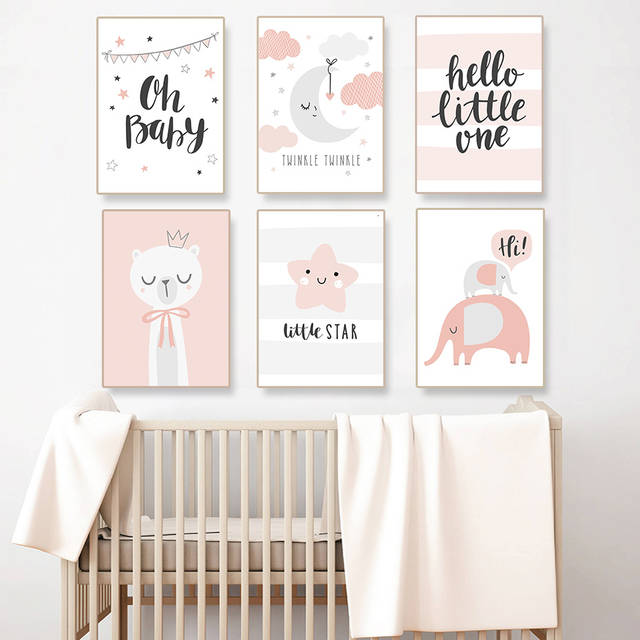 Cartoon Cute Elephant Nursery Decor New Baby Gift Light Pink Wall Art Picture Canvas Painting Poster Print Boy Room Home