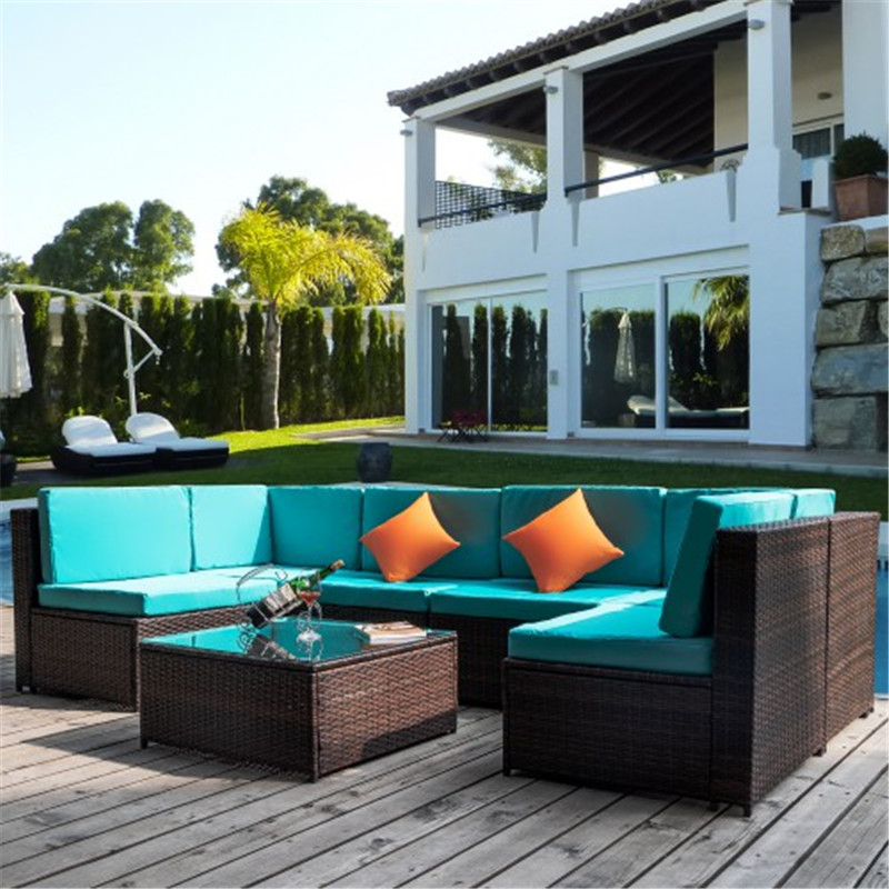 Furniture Sofa 7PCS-Blue Cushion Living Room Furniture Orange Pillow Corner Sofa Single Sofa