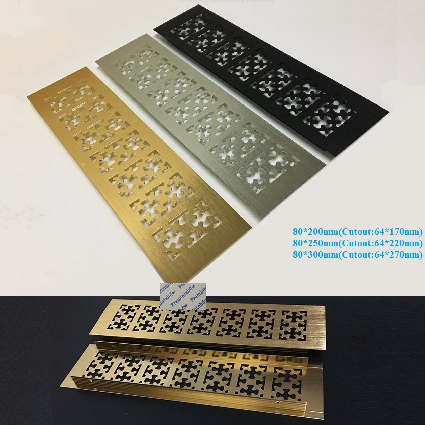 80mm Wide Snow Flower Pattern Rectangle Gold Silver Black Aluminum Alloy Air Vent Grille Cover Furniture Shoe Closet Cabinet