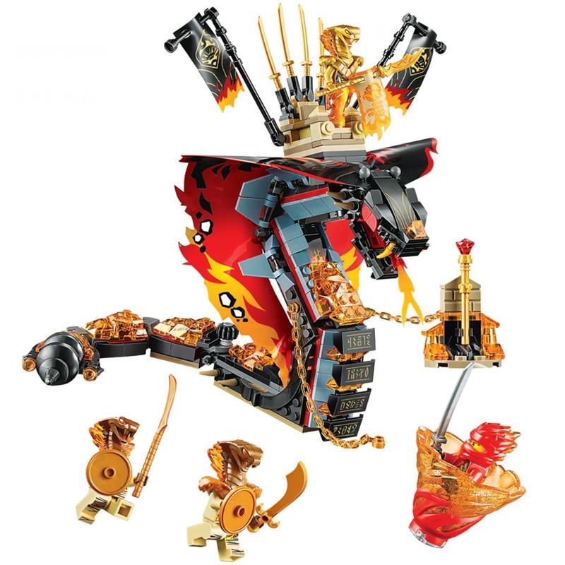 New 2019 Legoinglys Ninjagoed Fire Fang Spinjitzu Building Blocks Kit Bricks Classic Movie Ninja Model Kids Toys For Children