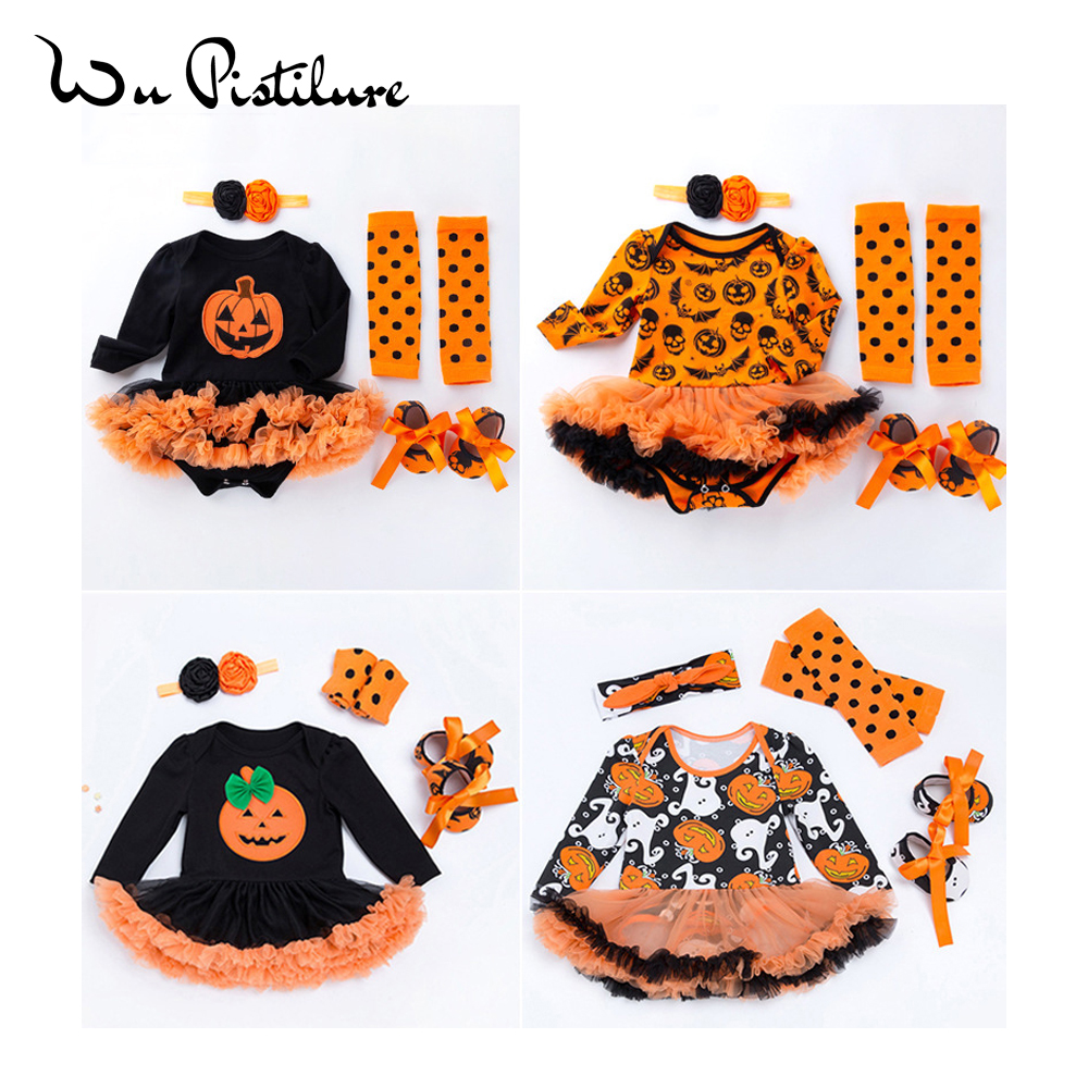 Toddler Baby Girls Romper Dress Halloween Cartoon Pumpkin Romper Dress Hairband Shoes Stocking 4pc/Set