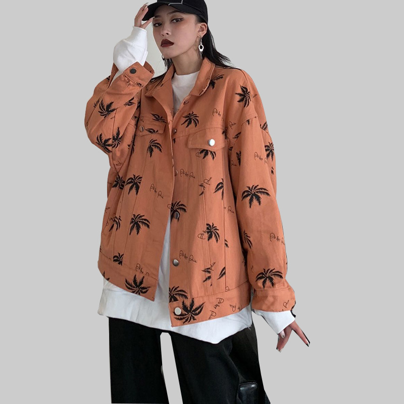 Autumn Harajuku Coat Women Maple leaf Printed Vintage   Jacket   Female Long Sleeve Streetwear Causal windbreaker Women   Basic     Jacket