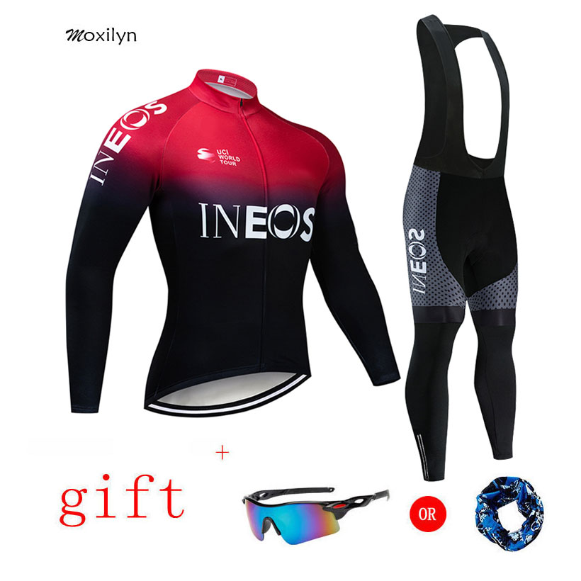 2019 INEOS Team Cycling Jersey + 20D Padding Bike Pants Set Ropa Ciclismo MENS Winter Thermal Fleece Pro Bicycling Jersey Maillo