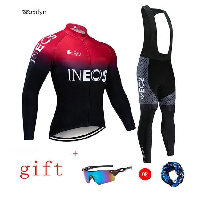 2019 Equipe de Ciclismo Jersey + 20D INEOS Padding Calças Conjunto Moto Ropa ciclismo MENS Inverno Térmicas Velo Pro Ciclismo Jersey maillo