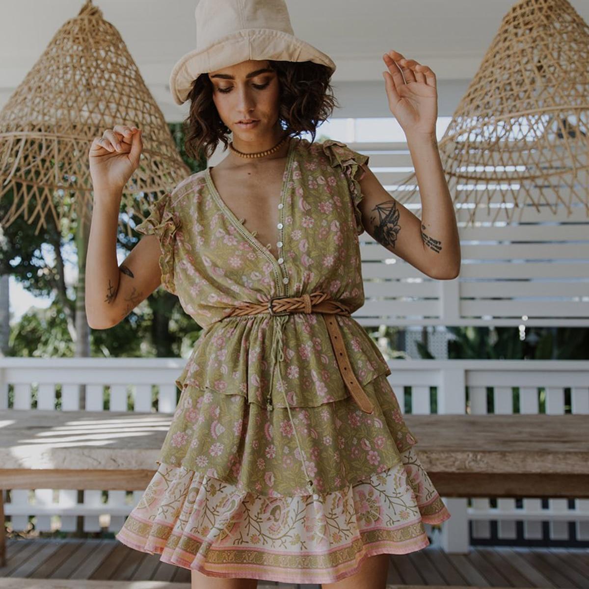 Boho été femmes imprimé Floral robe col en V bouton ceintures papillon manches décontracté lâche robe 2019 plage Mini robes
