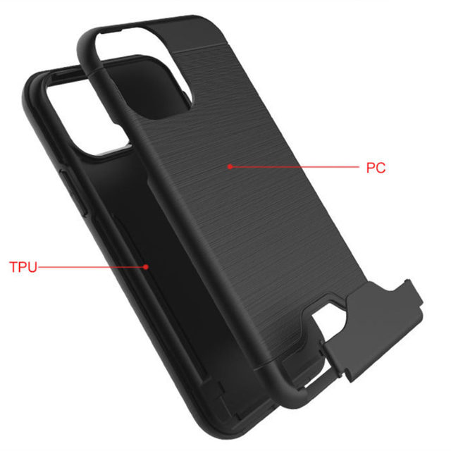 Brushed Armor Card Holder Case for iPhone 11/11 Pro/11 Pro Max 2