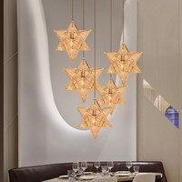 Kreative Edelstahl Geometrische Anhänger Licht Luxus Restaurant Cafe Kleidung Shop Anhänger Lampen Home Decor Star Gold Lampen-in Pendelleuchten aus Licht & Beleuchtung bei