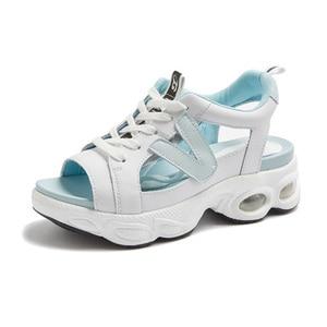 Женские сандалии из натуральной кожи, на платформе, лето 2020
