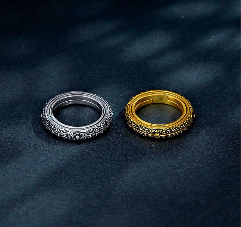 ส่งใบรับรอง! ใหม่แฟชั่น 925 เงินดาราศาสตร์แหวน Sphere Ball แหวนหมุน Cosmic แหวนคู่ Lover ของขวัญเครื่องประดับ