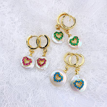 Wholesale Natural Pearl Micro Pave Heart - Shaped CZ Charm Earrings 5 or 10 Pairs