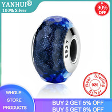 90% OFF! YANHUI 100% Solid Silver Pendants Sea Blue Crystal Radiance Glass Charms Beads Fit Original Bracelet DIY Jewelry Making(China)
