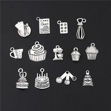 Utensílios para cozinha de cozimento, amuleto de cores prateadas para cozinhar e bolo, joia m68, 26 peças