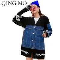 QING MO Autumn Knitted Women Sweater 2019 Women Denim Patchwork Sweater Female Black Blue Cardigan Coat ZQY2047