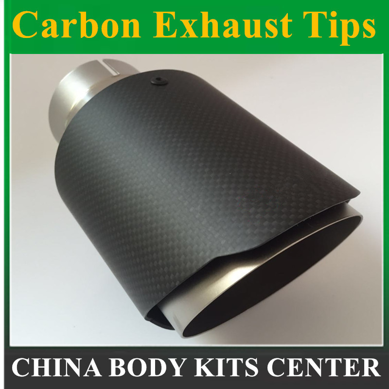 carantly Carbon <font><b>Car</b></font> Exhaust System Muffler Tip Tail Pipes Universal Sandblasting Stainless Steel Trim FOR <font><b>Bmw</b></font> E90 For <font><b>Akrapovic</b></font> image