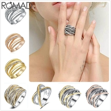 ROMAD Twisted Cable Ring Men Vintage Chunky Bands Rings For Women Wide Punk anillos Steel Color Crossover Wire Girl anel R5