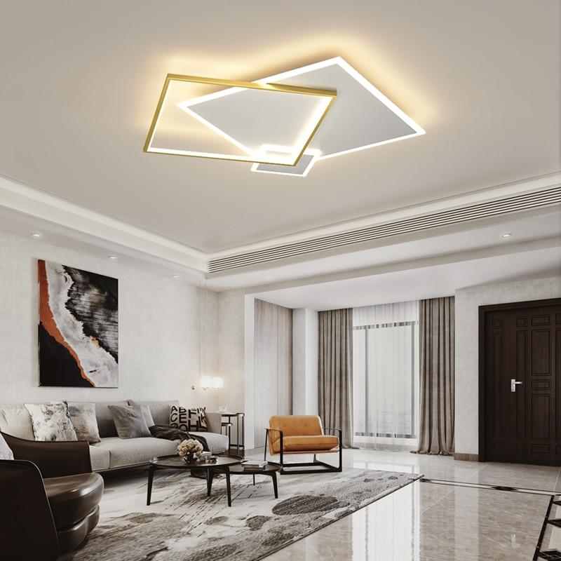 Современная квадратная круглая Потолочная люстра, светодиодный светильник для гостиной, спальни, кабинета, кухни, простой домашний светиль...