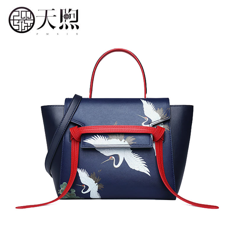 Pmsix 2020 New women leather bag Superior cowhide embroidery fashion women bag Luxury women leather shoulder women's bag
