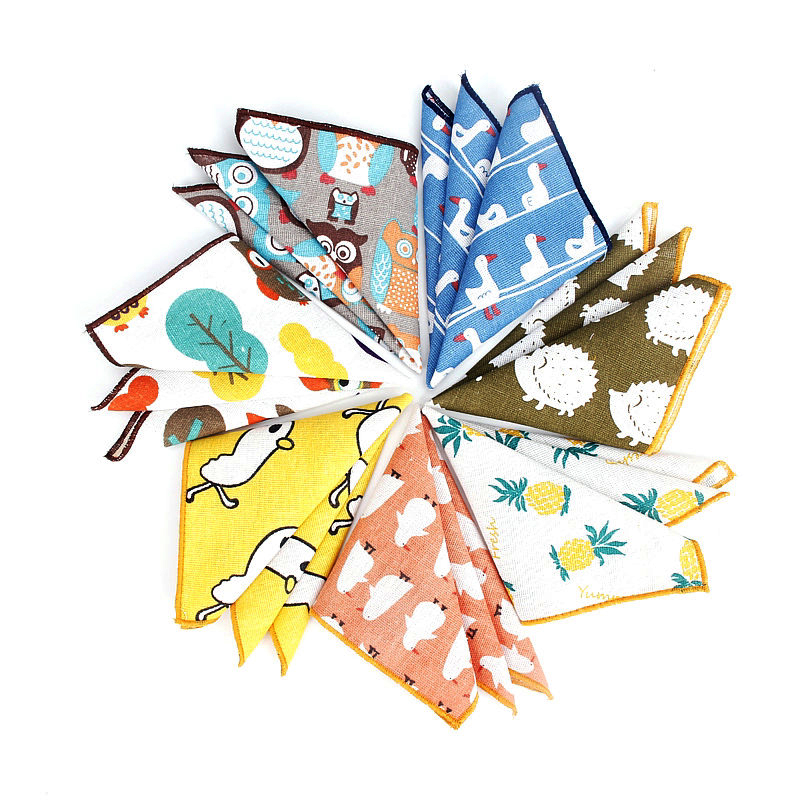 Brand New Men's Fashion Duck Dog Handkerchief Scarves Vintage Linen Hankies Men's Design Pocket Square Handkerchiefs 24*24cm