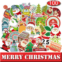цена на 100pcs Merry Christmas Stickers Sticker Set for Christmas Day Suitcase Cool Laptop Stickers Skateboard DIY Waterproof Stickers