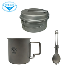 WIND HARD Ultralight Titanium tableware Outdoor Camping Hiking Picnic Tent Pot Spoon Cup Portable Folding Suit