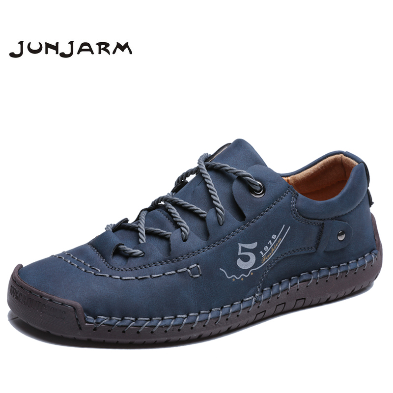 JUNJARM Handmade Men Casual Shoes Brand Men Sneakers Men Loafers Shoes Men Split Leather Breathable Moccasins Plus Size 38-48