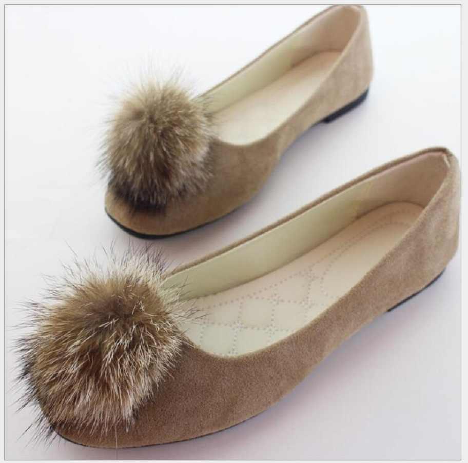 Plus Size Vrouwen Schoenen 2019 Bont Slip op Platte Schoenen spitse kop Ondiepe Enkele Schoenen Vrouw Loafers